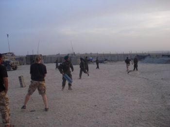 Playing cricket with soldiers from the Afghan National Army