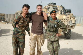 Private Daryn Liddle with soldiers from the Afghan National Army