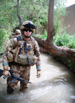 Lieutenant Matt Goudin wading in the Green Zone
