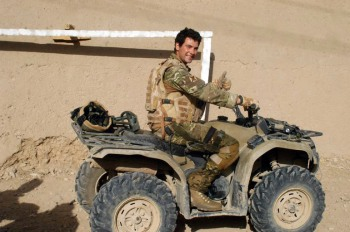 Lance Corporal John Zoumides on an Army quad bike