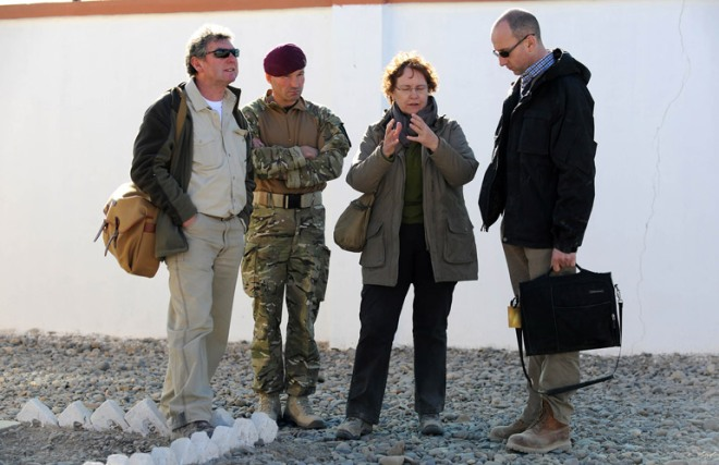 Left to right: The Editor of the News of the World, Colin Myler; Lieutenant Colonel David Eastman; the Permanent Under Secretary for Defence, Ursula Brennan and the BBC's World News Editor Jon Williams discuss Afghanistan at Check Point Attal