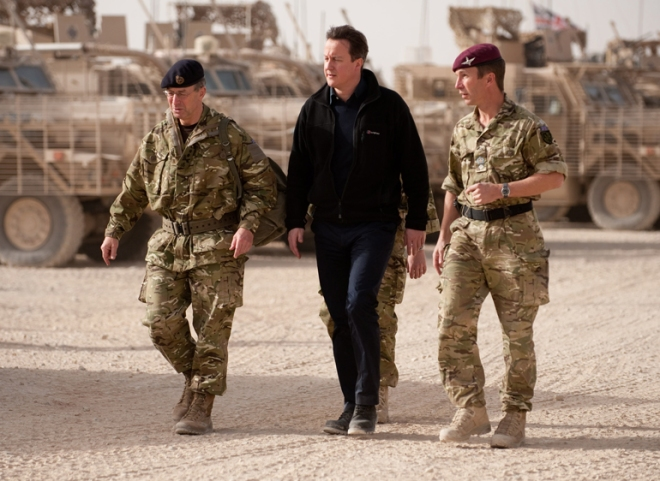 The Prime Minister visits Patrol Base 2, home of 2 PARA. With him are Lt Col Andy Harrison, CO 2 PARA and the Chief of the Defence Staff.