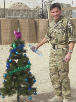 Lt Col Eastman with Christmas tree