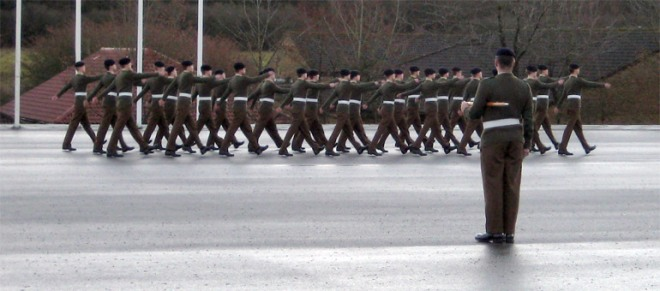 Marching on the parade square