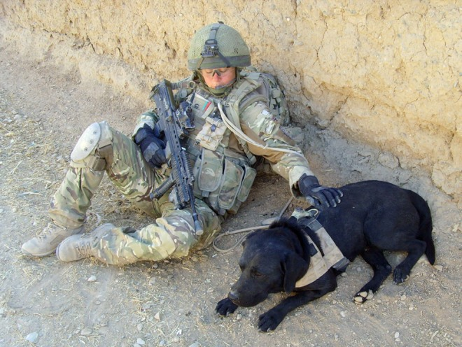 LCpl Natasha Mooney on patrol with Panchio in Helmand Province