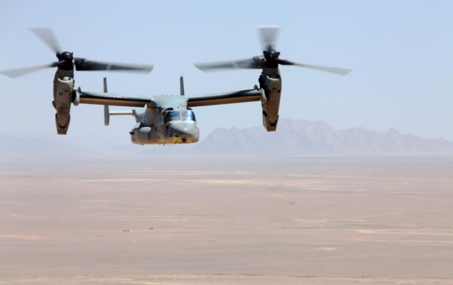 Osprey MV-22 in transition from helicopter to airplane