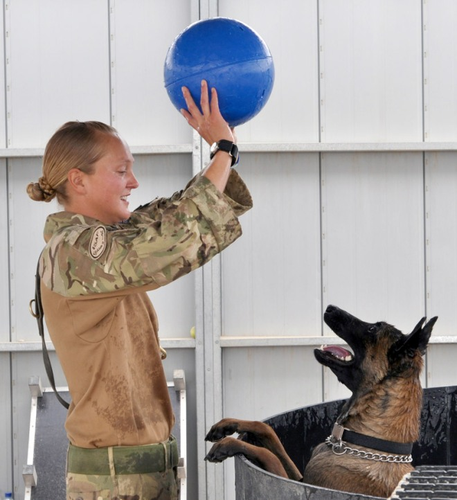 Lance Corporal Kelly Wolstencroft, with Kevin