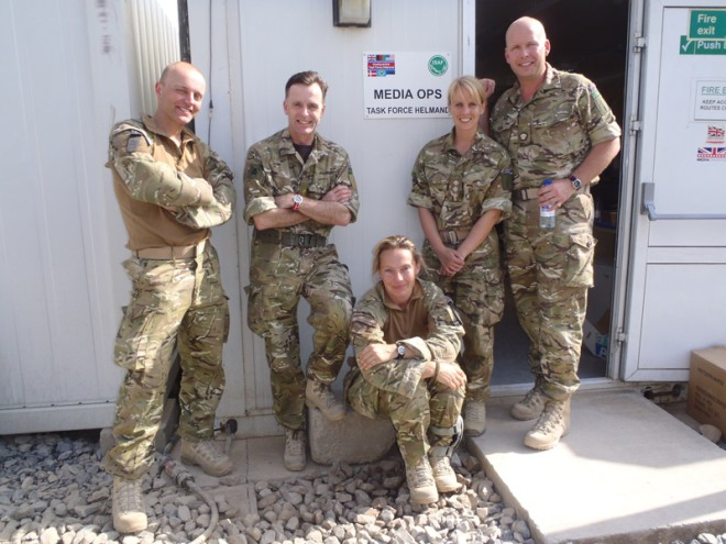 Media Operations Group (Volunteers) personnel deployed on HERRICK 14 outside the Media Ops 'shop' at HQ Task Force Helmand