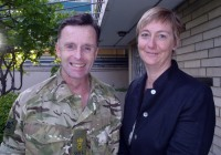 Lieutenant Colonel Tim Purbrick with Catherine Royle, Britain's Deputy Ambassador, at the British Embassy in Kabul