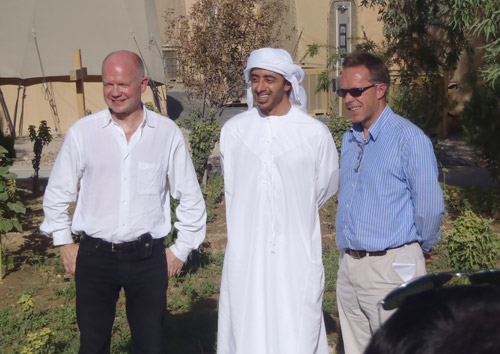 Foreign Secretary Rt Hon William Hague MP with the UAE's Foreign Minister HH Sheikh Abdullah bin Zayed Al Nahyan and  Michael O'Neill, Head of the Helmand PRT