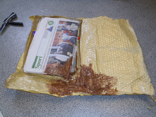 It's not a baby's nappy: it's what happens when you send chocolate to Helmand