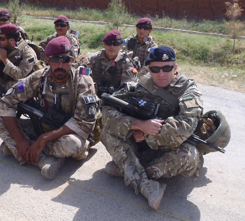 Lieutenant Colonel Tim Purbrick at the transition ceremony with Afghan comrades