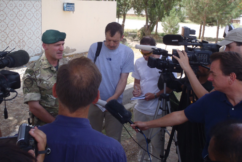 Brigadier Ed Davis, Commander Task Force Helmand, takes questions from Reuters, the Guardian, the Independent, ITN, CBS, the German News Agency and the BBC at Lashkar Gah's transition ceremony