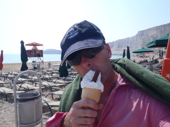 what 'decompression' is all about - a face full of ice cream on a Mediterranean beach