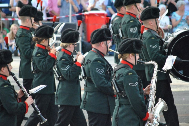 The Band and Bugles of the Rifles playing in Leiden, Holland.