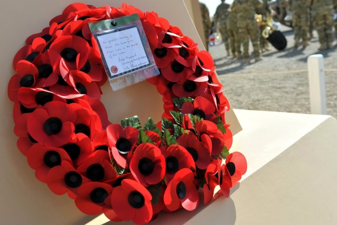The wreath laid by the Defence Minister
