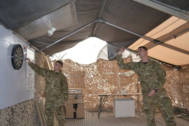 """Darts """"Darts during some much welcomed downtime"""", Lt Thorpe, Cpl Paul Birkett and LCpl Danny Attwood"""