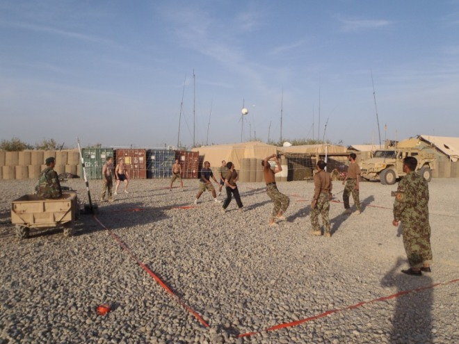 C Company versus the ANA in a friendly game of volleyball