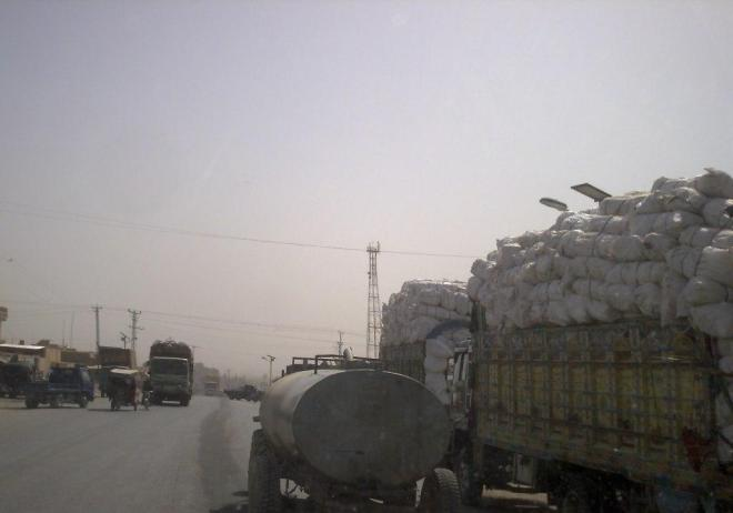 Goods piled high on the roads of Nahr-e-Saraj