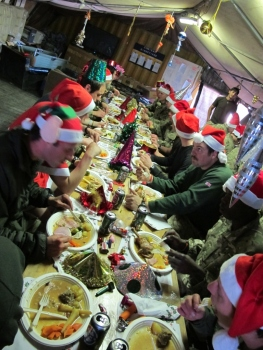 B Company enjoys Christmas dinner