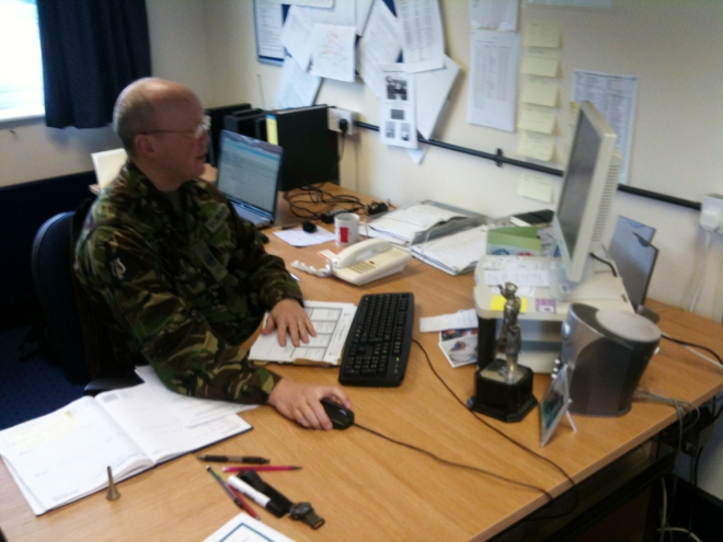 WO1 (BM) Troy Tayor-Smith in his office