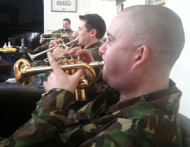 Sgt Rich Evans and Musician Dan Shave annoying me with their piccolo trumpets