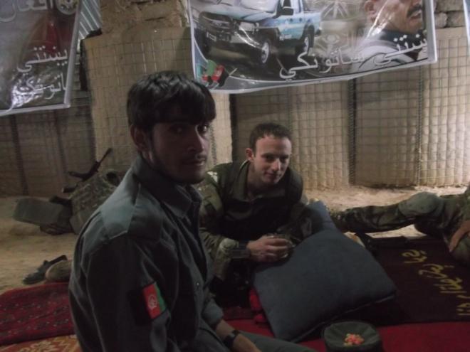 Lt Matt Galante having chai with the AUP