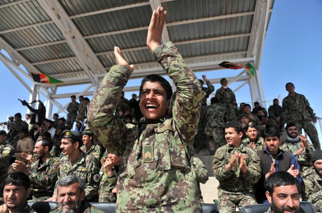 The Afghan National Army cheer from the stands