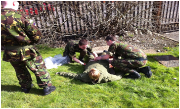 Members of C Coy taking part in medic raining
