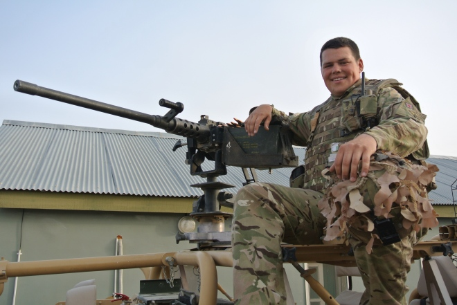 Trooper James Campbell and some of the equipment in Afghanistan.