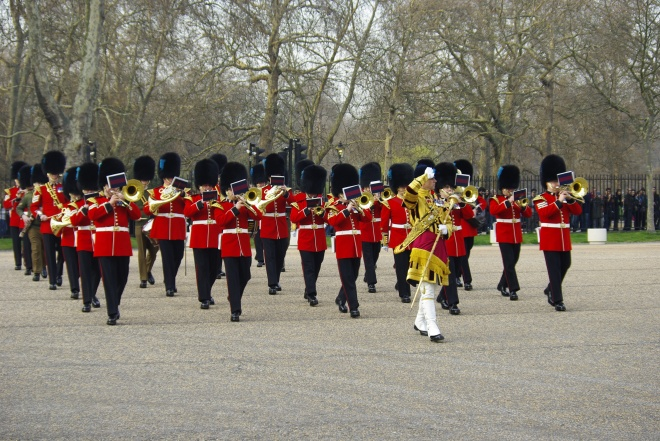 The Band marches off parade after passing Major-General's inspection with flying colours!""