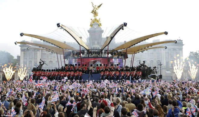'Performing on Stage at the Jubilee Concert' Copyright: Daily mail online.