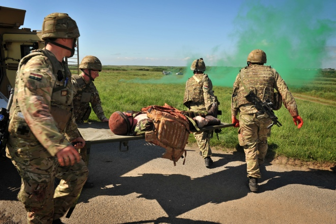 A Squadron, Royal Dragoon Guards, carry out casualty evacuation training during the final exercise..