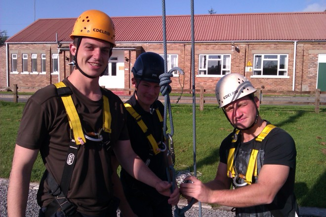 Rct Horrix and the other recruits about to embark on the high ropes.