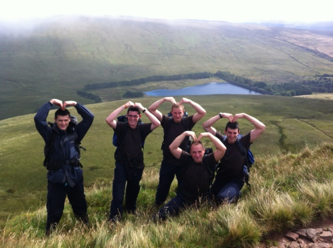 Rct Horrix and the other recruits hillwalking