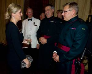 Maj Lawrence Sale and Maj Peter Clark and Maj (Retd) Roger Swift meet HRH The Countess of Wessex backstage