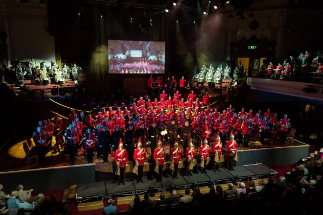 Massed Bands of The Household Division perform the Scarlet and Gold concert at Central Hall, Westminster.