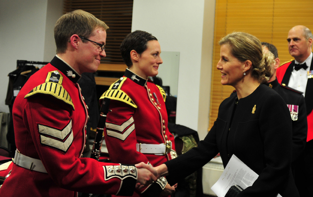 HRH The Countess of Wessex meets LCpl Shellard clarinet soloist