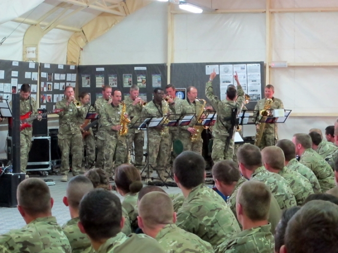 The Band of the AGC Band entertaining the troops on Op Herrick