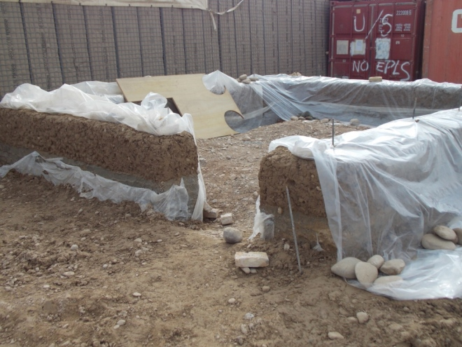 The beginnings of the Orthodox Build Earth (mud build) built by the Locally Employed Contractors