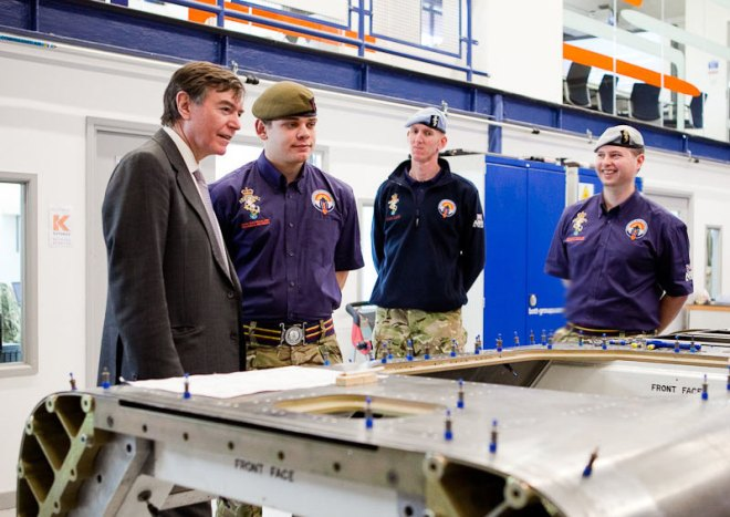 Left to Right: Philip Dunne MP, Cfn Rob Fenn, WO2 (AQMS) MarkEdwin, Maj Oli Morgan. Image by Stefan Marjoram