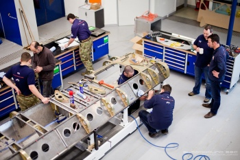Bloodhound Team working on the rear lower chassis at the Bristol Technical Centre. Image by Stefan Marjoram