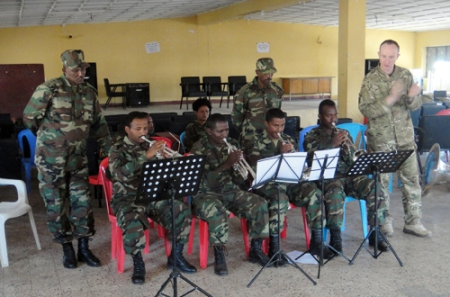 Members of Ethiopian National Defence Force Band receive training from Capt E Frost.