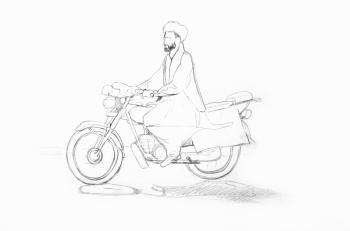 Afghan motorcyclist – initial sketch WIP. Photo by me