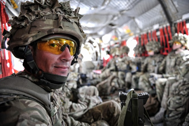LCpl Phil Pacey takes a Chinook flight to Lashkar Gah