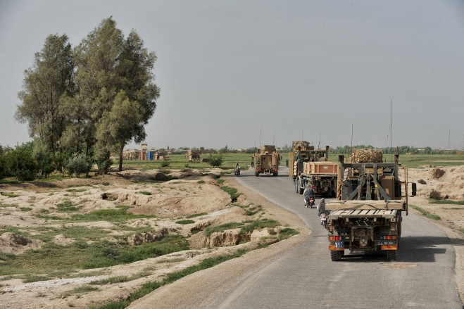 Vehicles make their way through Helmand Province.