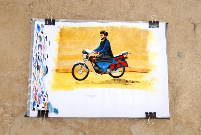 Afghan motorcyclist - watercolour