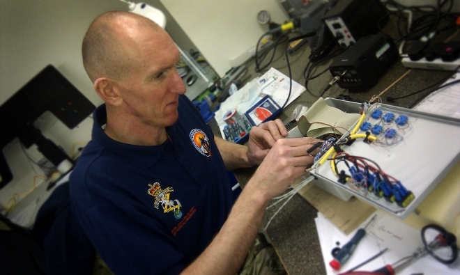 WO2 (AQMS) Mark Edwin makes final adjustments to the EJ200 control circuits. By Major Oli Morgan