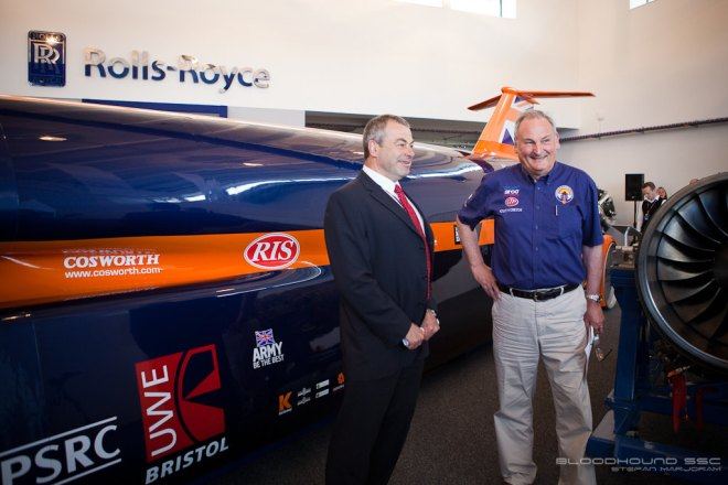 Rolls Royce's Colin Smith and Bloodhound SSC Director Richard Noble OBE. By Stefan Marjoram
