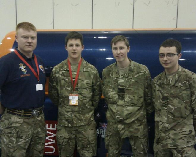 Welbeck Students with REME SSgt Neil Gallagher. By Major Oli MorganÁ